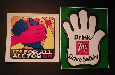 2 1960's Seven Up, The Uncola, Stickers Decals.