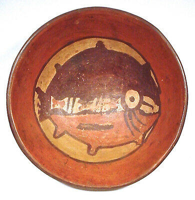 Pre-Columbian NASCA PAINTED FISH BOWL EX: SOTHEBYS '79