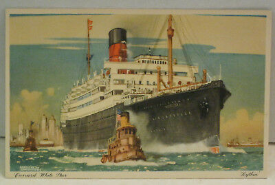 RMS Scythia Passenger Ship Cunard White Star 19,730 tons 1934 Vintage Postcard