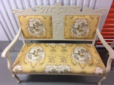 Ornate Antique Wooden Upholstered Bench  Settee Loveseat And Stoo***pretty***
