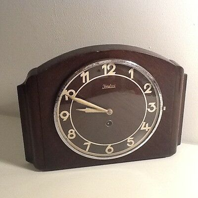 Junghans Art Deco Oak Cased Mantle Clock, British Clocks Movement