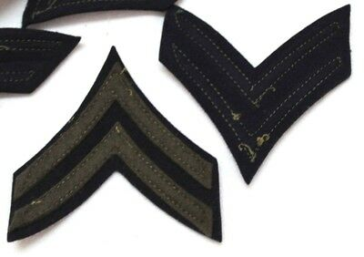 WWII 1942 US Army Corporal chevron Blue and OD wool felt stripes pair P9501