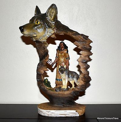 "Faux Wood Native American Indian Theme Wolves Wolf 9"" Statue Figurine Sculpture"