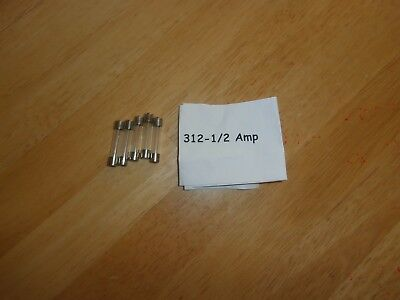 "Lot/5 312-1/2 amp (AGC) 250V Fast Acting Glass Fuse 1/4""X1.25"",312.500,NOS"