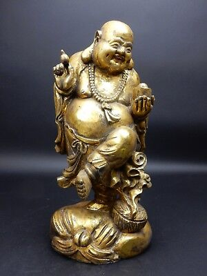 Large Chinese Intricately Carved Gilt wood  Buddha Statue  19 inches!