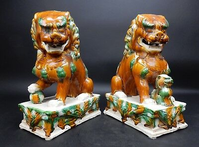 Pair of large Chinese Sancai Drip Glazed Foo Dogs 14  inches