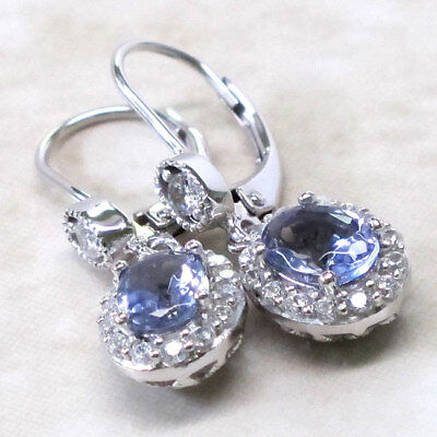 Amazing Tanzanite 925 Sterling Silver Latch Back Earrings