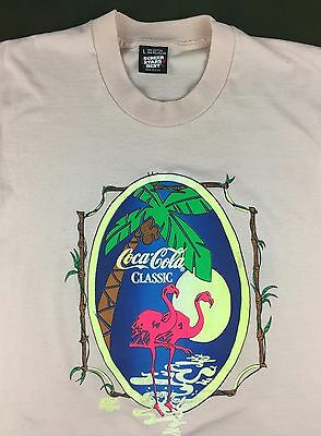 Vintage Mens L 80s 90s Screen Stars Coca-Cola Coke Soda Flamingos Pink T-Shirt