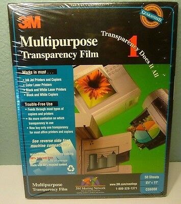3M Multipurpose Ink and Laser Transparency Film CG6000 50 Sheets NEW/SEALED
