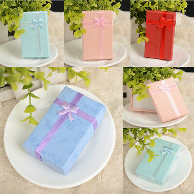 6Pcs Chic Gift Box Necklace Earring Jewelry Display Bowknot Rectangle Case JF