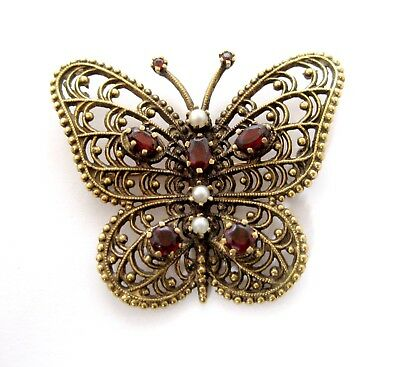 Vintage 14k Gold Butterfly Pin with Garnets and Seed Pearls 8.3 Grams #BB-HXL