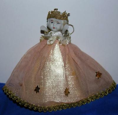 Lovely Vtg Bisque Porcelain Folk Art Angel Miniature Xmas Feather Tree Topper