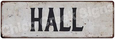 HALL Vintage Look Rustic Metal Sign Shabby Chic Family Name 6186146