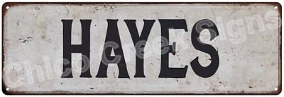 HAYES Vintage Look Rustic Metal Sign Shabby Chic Family Name 6186305