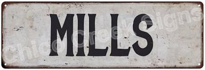 MILLS Vintage Look Rustic Metal Sign Shabby Chic Family Name 6186319