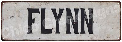 FLYNN Vintage Look Rustic Metal Sign Shabby Chic Family Name 6186378