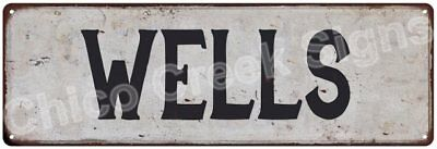 WELLS Vintage Look Rustic Metal Sign Shabby Chic Family Name 6186308