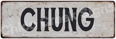 CHUNG Vintage Look Rustic Metal Sign Shabby Chic Family Name 6186468