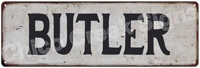BUTLER Vintage Look Rustic Metal Sign Shabby Chic Family Name 6186520