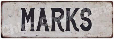 MARKS Vintage Look Rustic Metal Sign Shabby Chic Family Name 6186414