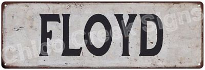 FLOYD Vintage Look Rustic Metal Sign Shabby Chic Family Name 6186373