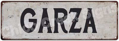GARZA Vintage Look Rustic Metal Sign Shabby Chic Family Name 6186326