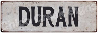 DURAN Vintage Look Rustic Metal Sign Shabby Chic Family Name 6186367