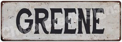 GREENE Vintage Look Rustic Metal Sign Shabby Chic Family Name 6186556