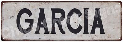 GARCIA Vintage Look Rustic Metal Sign Shabby Chic Family Name 6186492