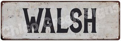 WALSH Vintage Look Rustic Metal Sign Shabby Chic Family Name 6186333