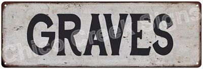 GRAVES Vintage Look Rustic Metal Sign Shabby Chic Family Name 6186592