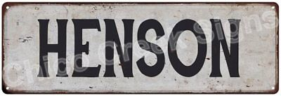 HENSON Vintage Look Rustic Metal Sign Shabby Chic Family Name 6186664