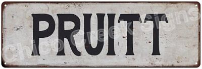 PRUITT Vintage Look Rustic Metal Sign Shabby Chic Family Name 6186676