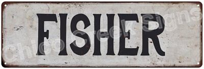 FISHER Vintage Look Rustic Metal Sign Shabby Chic Family Name 6186522