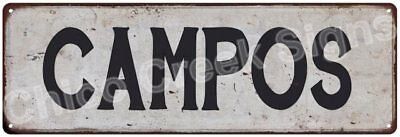 CAMPOS Vintage Look Rustic Metal Sign Shabby Chic Family Name 6186611