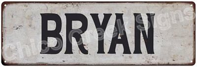 BRYAN Vintage Look Rustic Metal Sign Shabby Chic Family Name 6186393