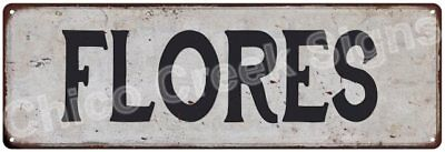 FLORES Vintage Look Rustic Metal Sign Shabby Chic Family Name 6186505