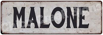 MALONE Vintage Look Rustic Metal Sign Shabby Chic Family Name 6186612