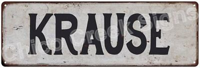 KRAUSE Vintage Look Rustic Metal Sign Shabby Chic Family Name 6186726