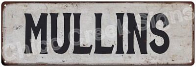 MULLINS Vintage Look Rustic Metal Sign Shabby Chic Family Name 6186833