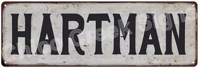HARTMAN Vintage Look Rustic Metal Sign Shabby Chic Family Name 6186845