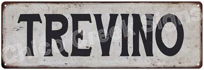 TREVINO Vintage Look Rustic Metal Sign Shabby Chic Family Name 6186881