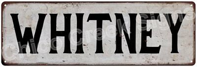 WHITNEY Vintage Look Rustic Metal Sign Shabby Chic Family Name 6186946