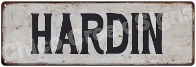 HARDIN Vintage Look Rustic Metal Sign Shabby Chic Family Name 6186684