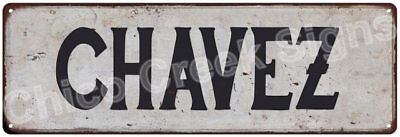 CHAVEZ Vintage Look Rustic Metal Sign Shabby Chic Family Name 6186525