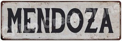MENDOZA Vintage Look Rustic Metal Sign Shabby Chic Family Name 6186775