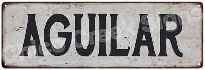 AGUILAR Vintage Look Rustic Metal Sign Shabby Chic Family Name 6186793
