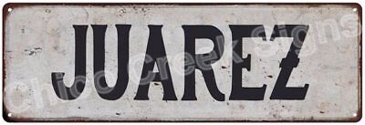 JUAREZ Vintage Look Rustic Metal Sign Shabby Chic Family Name 6186614