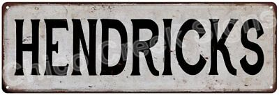 HENDRICKS Vintage Look Rustic Metal Sign Shabby Chic Family Name 6187090