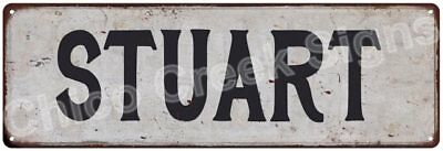 STUART Vintage Look Rustic Metal Sign Shabby Chic Family Name 6186709